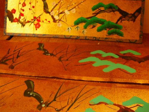 みかわ工房の手描き彩色屏風