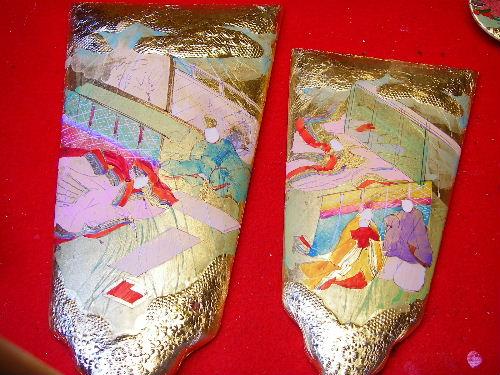手描き彩色の京風羽子板、2枚の羽子板