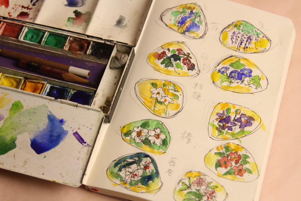 この10枚の貝合わせに、季節の花を手描きします。これはそのスケッチです。