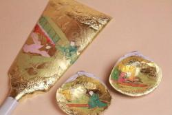 みかわ工房で製作中の手描き彩色羽子板